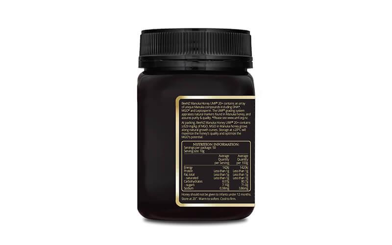 Manuka-Honig-kaufen-UMF20-500g-Seite
