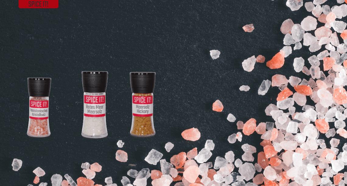 Verschiedene Salze Kristallsalz, Meersalz