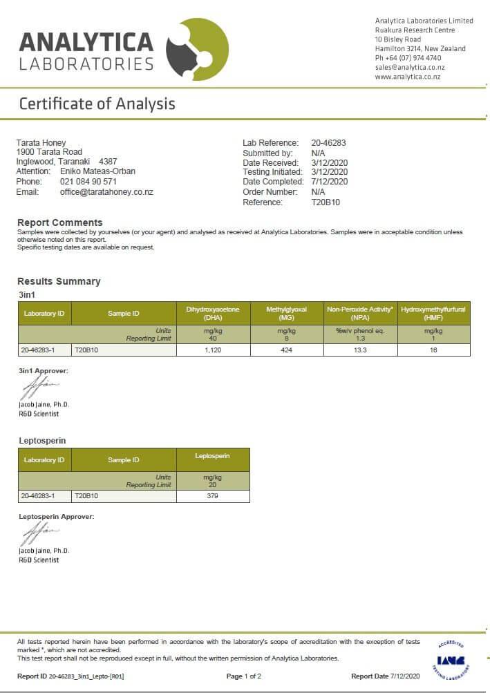 Manuka-Pur-400-MGO-Analytica-3in1-Zertifikat-englisch